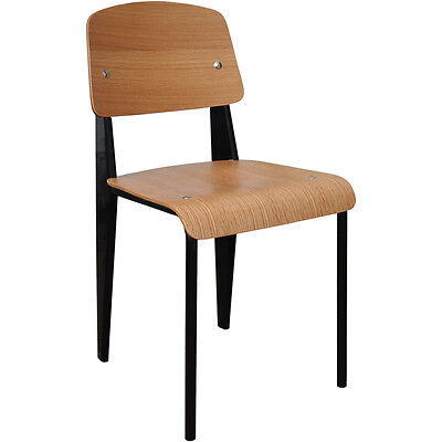 Steel and Wood Jean Prouve Restaurant Dining Chair Kitchen Black - SA