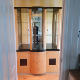Glass display cabinet with interior light. Beech wood with glass shelv