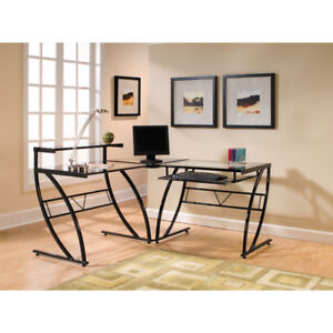 Belaire Corner Desk with Keyboard Tray & Glass Top - Black New