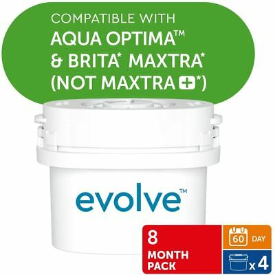 4 Aqua Optima Evolve 60-Day Water Filters fits BRITA MAXTRA Refill, 8 Month Pack