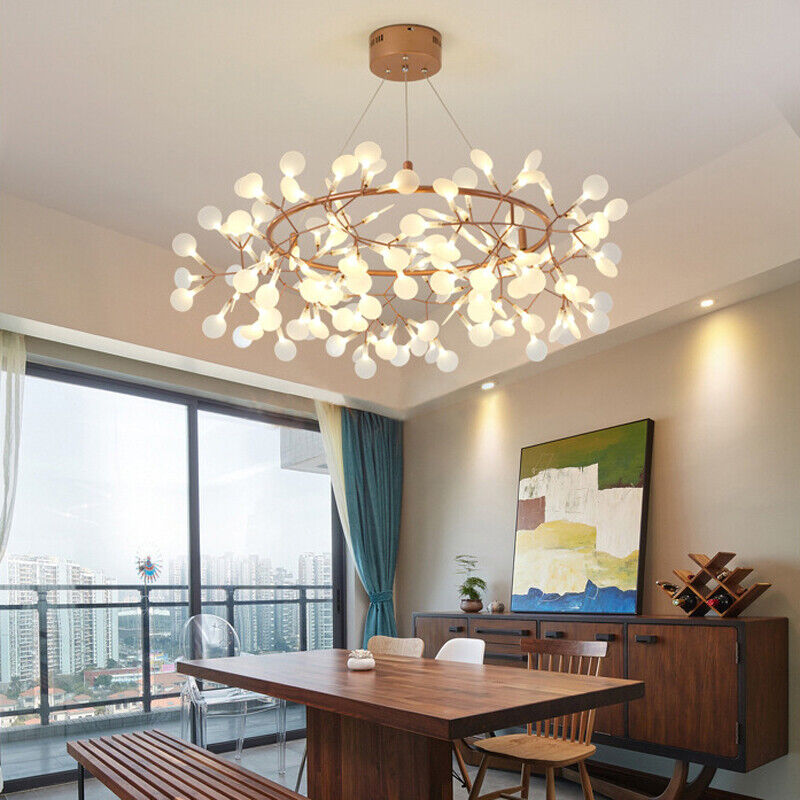Details About Modern Heracleum Rose Gold Branch Led Chandelier Hanging Pendant Ceiling Light