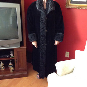 LONG BLACK BORGAZIA FAUX FUR COAT **REDUCED PRICE**