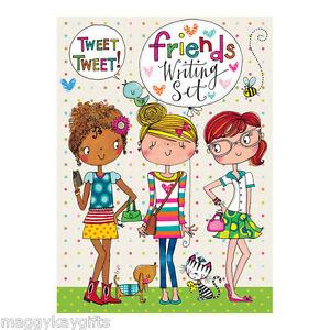 Three Friends Writing Set Wallet - Rachel Ellen Designs - Girls - Notepaper