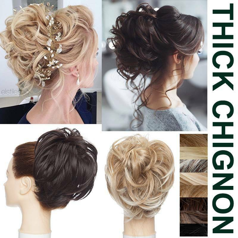 Thick Natural Tousle Messy Bun Scrunchie Curly Hair Extensions Updo Hairdo Piece Ebay