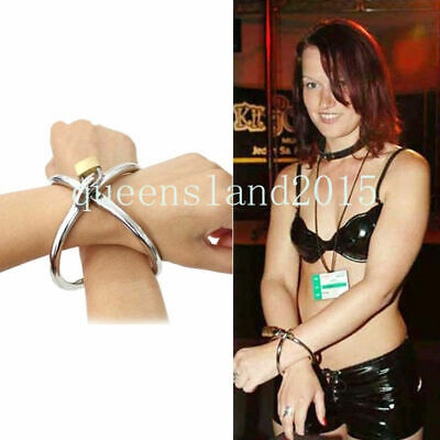Cross Handcuffs Bondage Stainless Steel Wrist Cuffs with lock key New Restraints