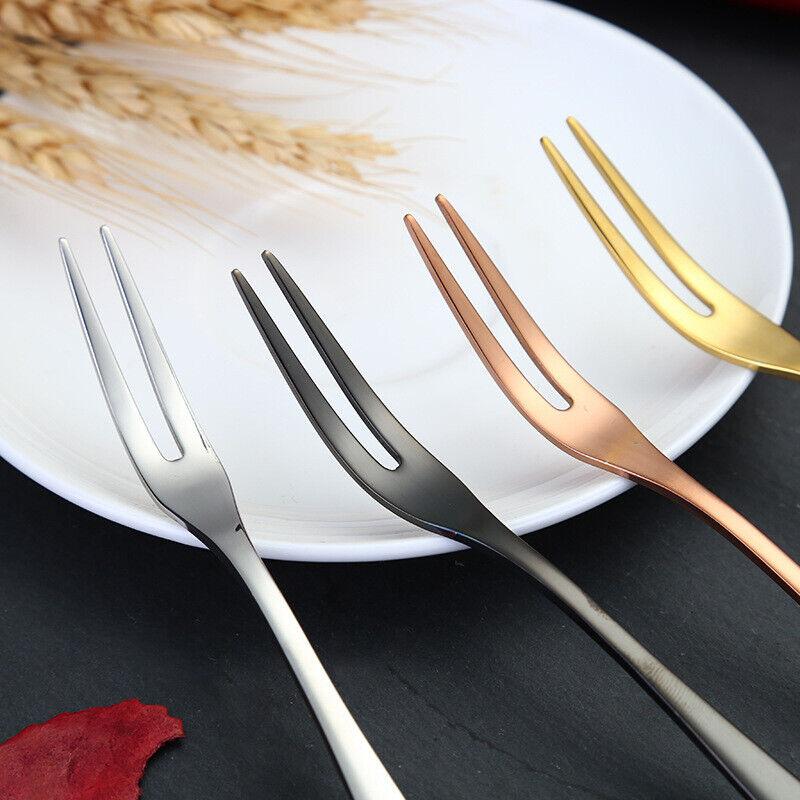 Premium Stainless Steel Fruit Fork Tea Dessert Titanium Coated Cutlery Gift Idea