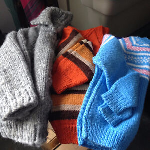 3 hand knit sweaters as shown