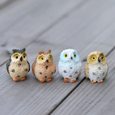 4XGarden Ornament Miniature Owl Resin Figurine Craft Pots Garden Decorative new