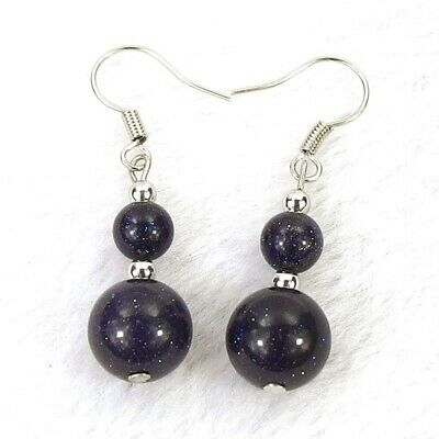 Goldstone Round Earring (Galaxy Blue Goldstone 10 & 6mm Round Gem Bead Silver-Plated Earrings 1.5