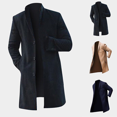UK Vintage Men's Trench Coat Winter Warm Long Jackets Single Breasted Overcoats