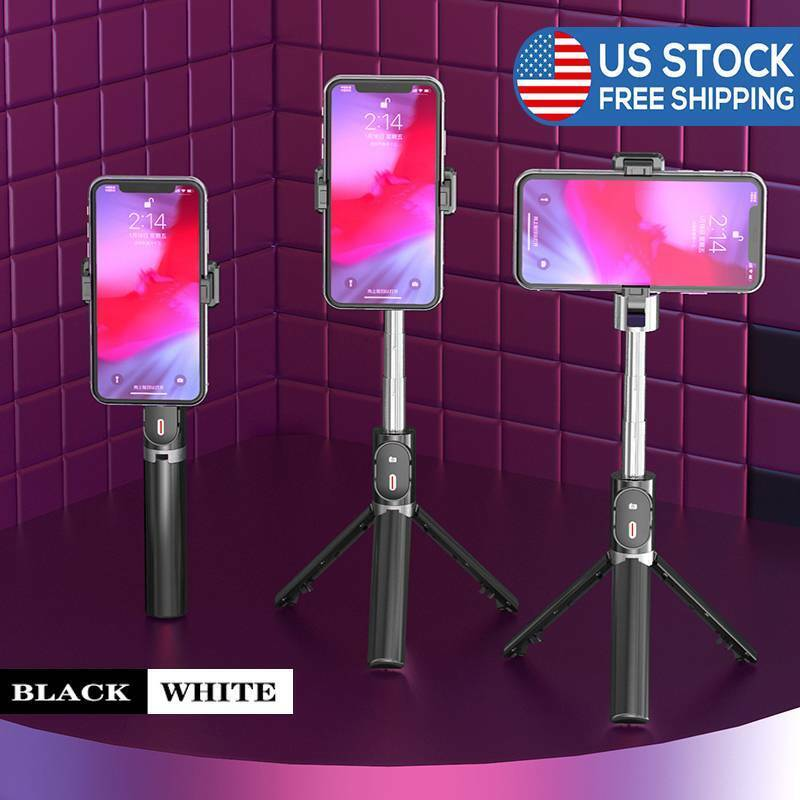 Adjustable remote selfie stick tripod Bluetooth Compatible w