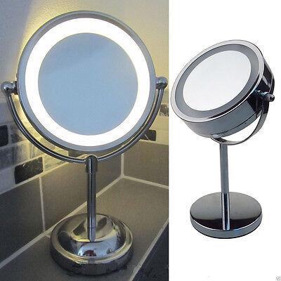 Round Make Up Magnifying LED Light Illuminated Bathroom Cosmetic Shaving Mirror
