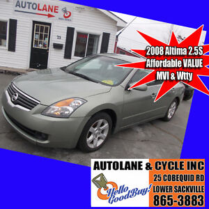 2008 Nissan Altima 2.5S Sedan~MVI & Wtty~$4995 Affordable
