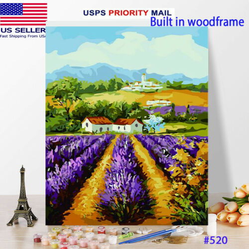 Wooden Framed  DIY Oil Painting Paint by Number Kit for Adults kid Lanvander