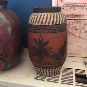 Vintage 1950s Red Pottery Vase f. African Sgraffito Designs