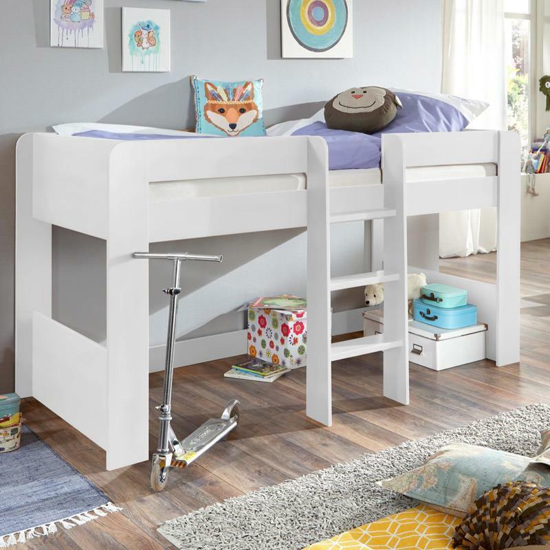 halbhohes Hochbett in weiß 90x200cm Spielbett Kinderbett Kinderzimmer mit Leiter