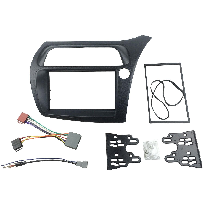 Double Din Radio Fascia For Honda Civic Dvd Frame Iso Wiring Dash Steering Mount Trim Kit
