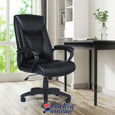 Executive Leather Office Chair Soft Pad Backrest Swivel Computer Task Desk Seat