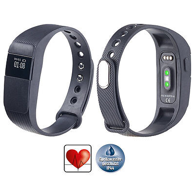 PEARL Bluetooth-4.0-Fitness-Armband, dyn. Herzfrequenz-Messung, Nachrichten