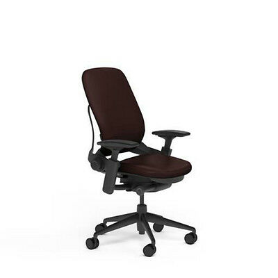New Steelcase Adjustable Leap Desk Chair - Mahogany Leather Seat - Black Frame