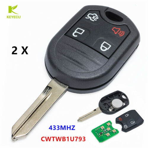 2PCS Remote Control Key Fob 4B 433MHz 4D63 Chip for Ford Lincon FCC:CWTWB1U793