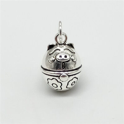 925 Sterling Silver Pig Bell Charm Bell Pendant for Bracelet Necklace