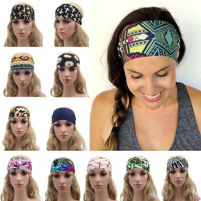 Women Wide Sports Yoga Headband Stretch Hairband Elastic Hair Band Boho Turban - Adult Headbands
