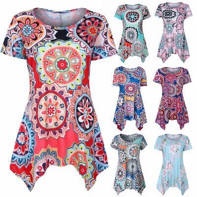 Floral Tunic Shirt (Womens Summer Floral O Neck Blouse Loose Swing Tops Tunic T Shirt Plus Size )