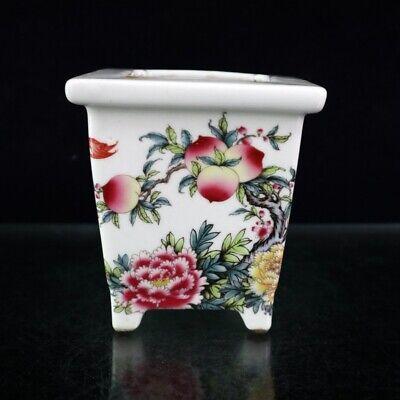 "7.1/"" Collect China Red Glaze Porcelain Tree Peony Flower Pattern Tea Caddy Pot 囍"