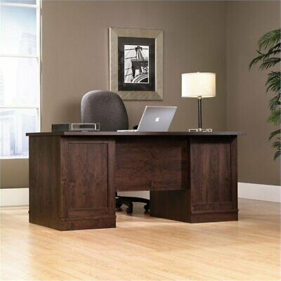 executive computer desk in dark alder