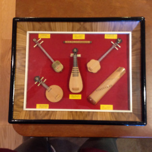 Miniature Chinese music instruments in glass frame.
