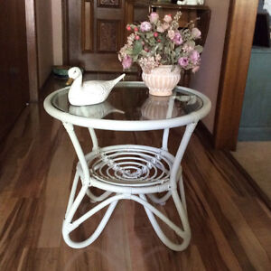 Glass top round bamboo table