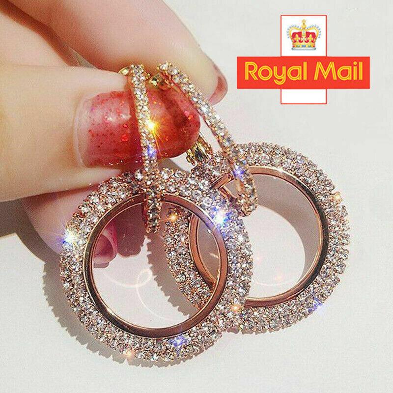 Jewellery - 925 Silver Rose Gold Crystal Round Hoop Earrings Womens Jewellery Party Wedding