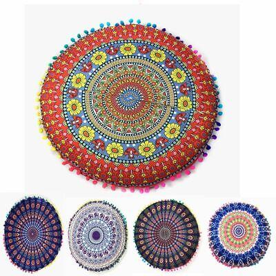Mandala Print Floor Pillow Throw Case Round Boho Cushion Cov