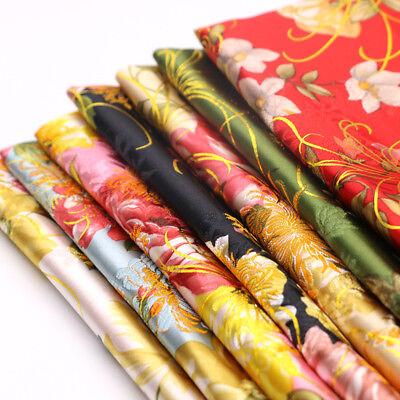 Blumenmuster Aufdruck Seide Satin Tuch Chinesisch Cheongsam Abendkleid ()
