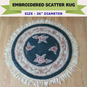GOOD QUALITY ROUND EMBROIDERED RUG - DIAMETER 36""