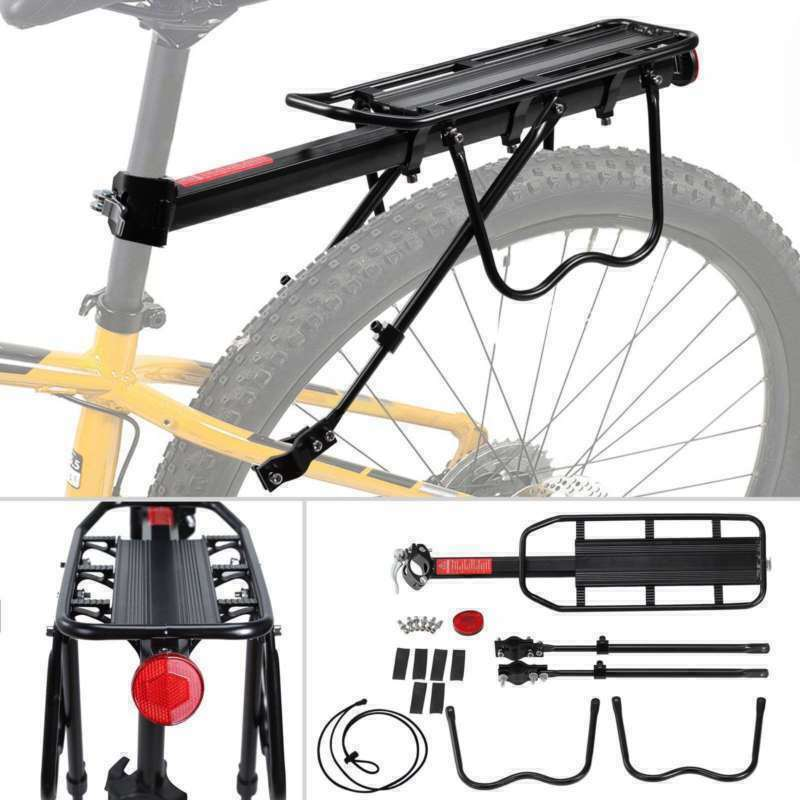 Bicycle Mountain Bike Rear Rack Seat Post Mount Luggage Carrier Metallic