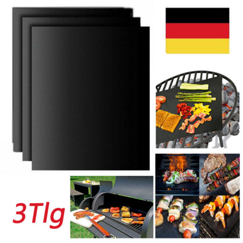 3Tlg BBQ Grillmatte Antihaft Grillunterlage Für Gasgrill und Holzkohle Bratfolie