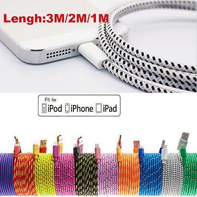 3M STRONG BRAIDED USB DATA SYNC CHARGER CABLE LEAD for iPhone 6 5 5S iPad 6 Plus