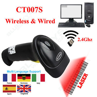 1D CT007S 2.4G Wireless & Wire Laser Barcode Scanner Reader Built-in Battery