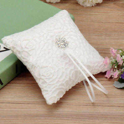 - Ivory Satin Crystal Ring Bearer Pillow Cushion Lace Floral For Girl Wedding US