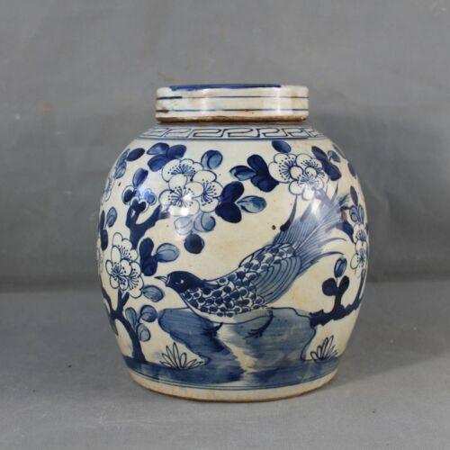 Estate Chinese Antique Qing Blue White Porcelain Flowers Bird Teapot
