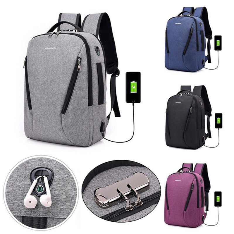 Anti Theft Backpack USB Charging Port Bag Laptop Notebook Bu
