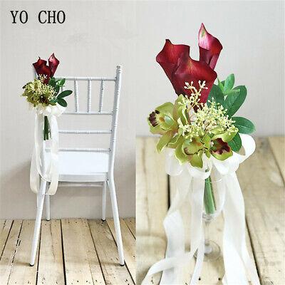 Artificial Chair Back Flower Callas LilySilk Bridal Home Wedding DIY Accessories ()