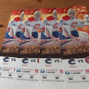 4 Billets Canadiens Tickets Vancouver Canucks BLANCS 4 coller
