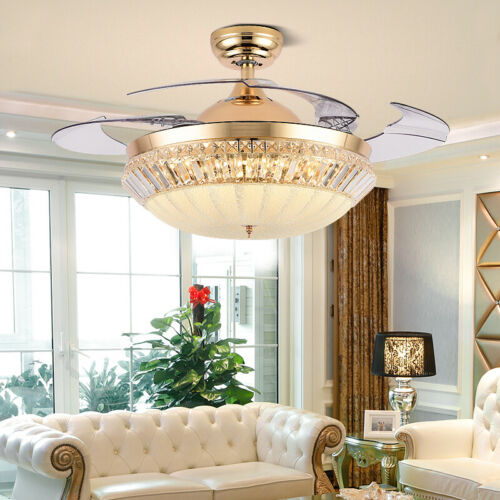 """42""""Gold Crystal Invisible Ceiling Fan Remote LED Chandelier"""