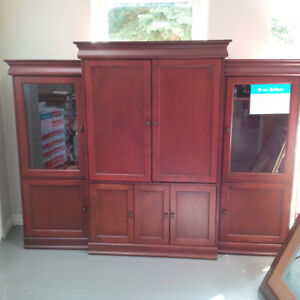 Cherry wood TV stand+cabinet unit for $300!