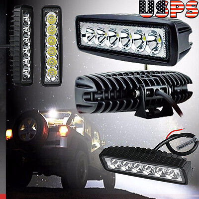 "6*18W 6"" Cree LED Light Work Lamp Driving Fog Offroad SUV 4WD Car Boat Truck Bar"