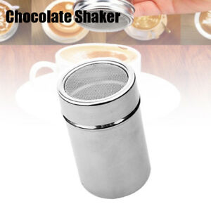 Stainless Steel Chocolate Shaker Icing Cocoa Flour Sugar Cappuccino Sifter 2019