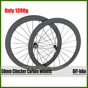 Only 1390g ultra light 50mm clincher 700c carbon road wheelset carbon  wheels